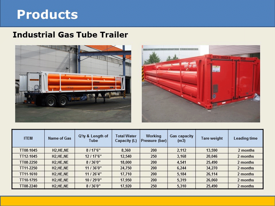 industrial gas tube trailer